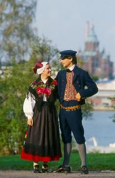 Couple in traditional Finland national costumes.