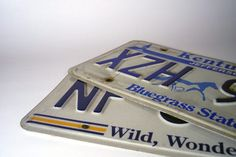 Old license plates can be used to make garden art
