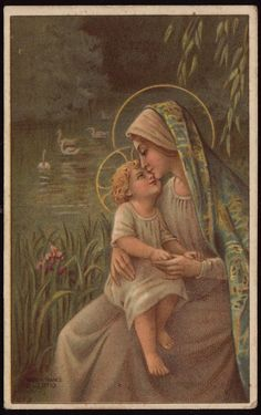 Antique French Holy Card - The Blessed Mother  and her Sweet Baby Boy by the lake.