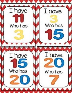 Have, Who Has- Number Recognition I Have.Who Has Number Recognition {Freebie}I Have.Who Has Number Recognition {Freebie} Teaching Numbers, Numbers Preschool, Preschool Curriculum, Math Numbers, Preschool Math, Math Classroom, Kindergarten Math, Teaching Math, Math Activities