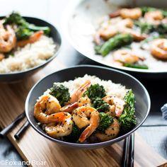 Honey Sesame Shrimp and Broccoli