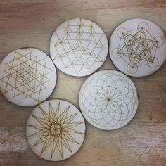 fresh off the laser cutter messin around with line and makin myself some coasters #lasercut#wood#design#sacredgeometry by moon.metals