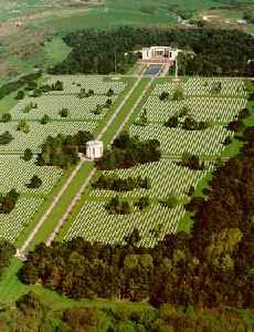 The Normandy American Cemetery and Memorial is a World War II cemetery and memorial in Colleville-sur-Mer, Normandy, France, that honors American soldiers who died in Europe during World War II.