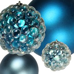 glue glass pebbles from dollar store to plain ornament.