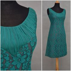 Vintage dress, 1950's / 1960's green lace shift dress with brown underlay, Stylish pencil line wiggle dress, Pinup / Bombshell / Rockabilly