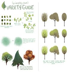 How to draw a tree by Domareen Fox  http://dommifox.tumblr.com/post/46542583957/a-couple-people-asked-me-how-i-vary-my-leaves-and