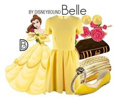 Belle by leslieakay on Polyvore featuring polyvore, fashion, style, Betsey Johnson, Disney, Closet, Marc Fisher, Lord & Taylor, disney, disneybound and disneycharacter