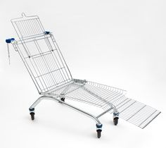 Shopping cart lounger. I'd never own one, but the idea of putting old shopping carts to use in a different way is a clever one.