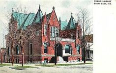 South Bend Indiana IN 1908 South Bend Public Library Antique Vintage Postcard