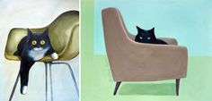 Cat Paintings by Olive Dear