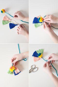 jojotastic - DIY // boho pom pom + tassel umbrella