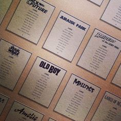 """Loved designing this table plan,I love the movies so was great looking up all the various title fonts."""
