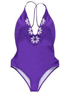 Embroidered Cami One-Piece Swimwear - PURPLE S Mobile