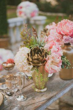 #gold wedding idea - spray paint artichokes! - photo by Day 7 Photography - http://ruffledblog.com/metallic-garden-wedding-inspiration/