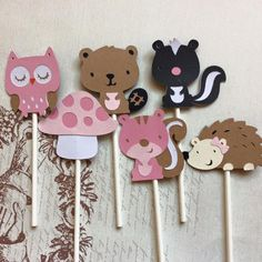 12 Detailed Woodland Friends Cupcake toppers Birthday Toppers/Girl Toppers/ Animal Toppers/ Woodland Toppers  These are handmade toppers created