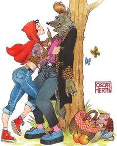 Oscar Hertin Rocking litle red ridding hood and the teddy wolf #illustrationart #illustration #art#artwork