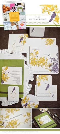 What sweet invtiations from The Paper Lion with purple birds and yellow florals?! Photos by BRC Photography. #wedding #invitations #bird