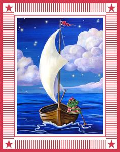 Frog Boating boat picture nauticalboy's by HamiltonArtandDesign, $20.00
