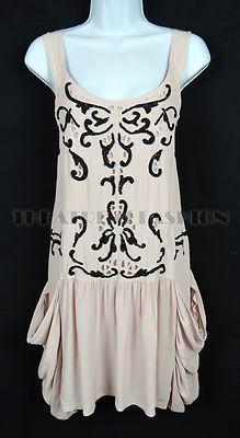 Topshop 20s Vintage Flapper Dress Nude Beads Gatsby 30s Vamp Festival 70s Boho | eBay