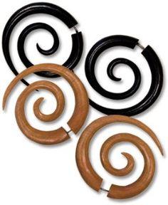 NEW! Spiral Wood Earrings