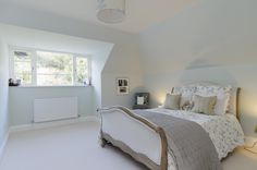 bedroom in pale powder