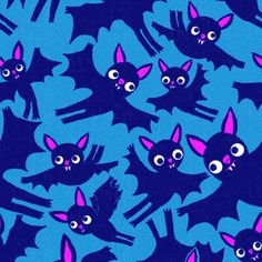Halloween Bats in boo blue fabric by heidikenney on Spoonflower - custom fabric