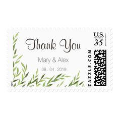 Greenery Thank You Postage Stamp with nice and lovely watercolor greenery design in rustic and vintage style by Amistyle on Zazzle