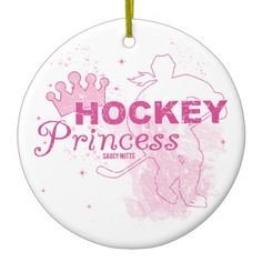Hockey Princess Christmas Ornaments. Women and girls play hockey too! This hockey ornament would be a great gift for the female hockey player in your life!