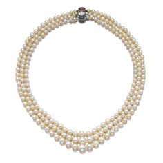 NATURAL PEARL, GEM SET AND DIAMOND NECKLACE, PETOCHI  Estimate:     95,000 - 140,000 CHF (100,415-147,980 USD)  LOT SOLD. 302,500 CHF (319,742 USD) (Hammer Price with Buyer's Premium)  Designed as three graduated rows of natural pearls measuring from approximately 4.0 to 9.3mm, on a clasp set with a marquise-shaped diamond and a cabochon sapphire and ruby, length approximately 450mm, signed G. Petochi, Italian assay marks.