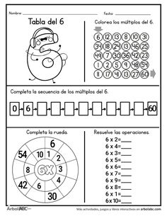 Operaciones de la tabla del 6 | Árbol ABC 3rd Grade Math Worksheets, Worksheets For Kids, Learning Multiplication, Teaching Math, Math Tables, Clever Kids, Math School, Math For Kids, Homeschool