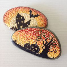 Halloween Painted Stone Gift Blue Decoration by CreateAndCherish