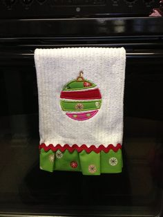Items similar to Christmas hand towel with whimsical ornament applique and ruffle trim ric rac on Etsy Christmas Hand Towels, Christmas Aprons, Christmas Sewing, Christmas Embroidery, Christmas Art, Christmas Decorations, Craft Stalls, Craft Fairs, Machine Embroidery