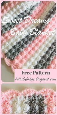 Crochet a gorgeously soft and snuggly baby blanket, with this free pattern. The blanket is sized for both small (pram) and large (cot) blankets also with 2 colourway options to choose from. Easy pattern with step by step instructions and helpful photos. Crochet Baby Blanket Free Pattern, Crochet Afghans, Free Crochet, Crocheted Baby Blankets, Crochet Stitches, Free Easy Crochet Patterns, Crotchet Baby Blanket, Crochet Baby Shawl, Bobble Stitch Crochet