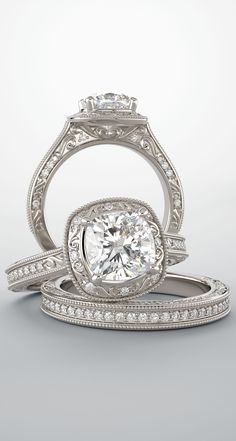 A cushion cut vintage-inspired engagement ring and matching band. Square Engagement Rings, Cushion Cut Engagement Ring, Classic Engagement Rings, Princess Cut Rings, Princess Cut Engagement Rings, Solitaire Engagement, Cushion Cut Diamond Ring, Diamond Rings, Solitaire Diamond