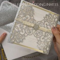 Glitter silver laser cut wrap with champagne mirror paper bottom and buckle EWWS239