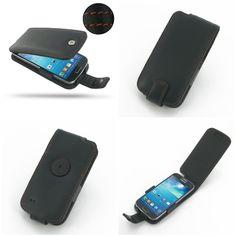 PDair Leather Case for Samsung Galaxy S4 Mini GT-i9190 - Flip Type (Black/Orange Stitch)
