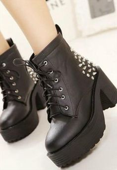 Black Punk Rock Style Studded Chunky Heel Ankle Boots ~ Love these boots! ~