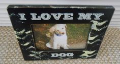 I LOVE MY DOG by FramesByDevora on Etsy Dog Frames, I Love Dogs, Make It Yourself, Handmade Gifts, Vintage, Etsy, Kid Craft Gifts, Craft Gifts, Vintage Comics