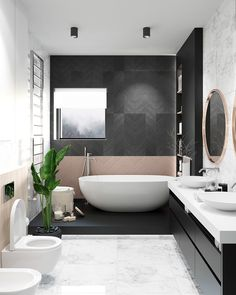 Modern Bathroom Have a nice week everyone! Today we bring you the topic: a modern bathroom. Do you know how to achieve the perfect bathroom decor? Modern Bathroom Design, Contemporary Bathrooms, Bathroom Interior Design, Modern Interior Design, Bathroom Designs, Bad Inspiration, Bathroom Inspiration, Bathroom Ideas, Bathroom Trends