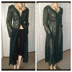 """Boho Fab 80's Sheer Lace Maxi Dress / Cover Up Just love this boho amazing vintage sheer lace dress/cover up.  Button up front - long sleeves - fitted sexy fit - wear as a dress with leggings and tube top or the perfect bathing suit cover up - vintage size 11 with a 34"""" waist, 38"""" bust and 50.5"""" length.  Brand new but vintage 89's. Vintage Dresses Maxi"""