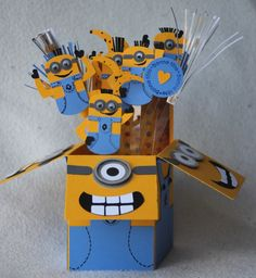 Minion birthday card I made for my daughter.  Used only Stampin Up! punches.