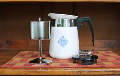 Corning Ware ~ Blue Cornflower ~ Percolator/Coffee Pot ~ Four (4) Cup ~ P-124 ~ Complete ~ 5 Pieces ~ Stove Top ~ Coffee Maker by JingleBeanFarm on Etsy