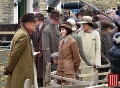 """.""""Downton Abbey"""" cast members spotted filming scenes for the upcoming sixth series of the hit show in the Wiltshire village of Lacock, UK."""