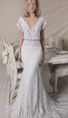 Short sleeve Lace bohemian wedding dress,boho wedding gown ,Lihi Hod Bridal,Lihi Hod 2018 wedding dresses,wedding dresses 2018