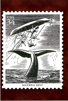 """USA, 2001. Rockwell Kent was an American painter, printmaker, illustrator and writer. His most well-know work might be his illustrations for Melville's """"Moby Dick"""". Published in 1930 by the Lakeside Press of Chicago, the 3-volume limited edition (1000 copies) filled with Kent's haunting b/w pen/brush and ink drawings sold out immediately; Random House produced a trade edition which was also immensely popular."""