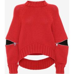 Alexander McQueen Slashed Detail Knitted Jumper ($1,265) ❤ liked on Polyvore featuring tops, sweaters, lust red, oversized crew neck sweater, alexander mcqueen sweater, oversized sweaters, long sleeve jumper and long sleeve tops
