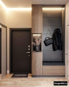Its nice but most of all I liked the lit up boxshelf with wase in it. Fashionable design of a hall in modern style # - - Apartment Entrance, Home Entrance Decor, Apartment Interior, Hall Wardrobe, Wardrobe Door Designs, Flur Design, Hall Design, Design Design, Design Ideas