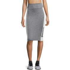 Puma Women's Heathered Bodycon Skirt ($40) ❤ liked on Polyvore featuring skirts, grey, knee length bodycon skirt, body con skirt, grey skirt, grey bodycon skirt and bodycon skirt
