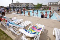 Amenities at Vulcan Village include an outdoor swimming pool! #caluofpa
