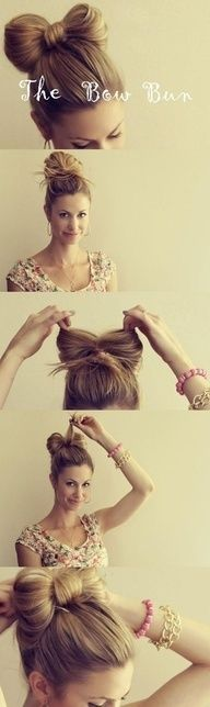 The Hair Bow Bun - love this so much, doubt it would work in my hair, but I love, love, love! Once my hair is long enough I know I could attempt putting my hair up in this hair bow Bun! the hair bow Bun style! Pretty Hairstyles, Easy Hairstyles, Girl Hairstyles, Wedding Hairstyles, Medium Hairstyles, Latest Hairstyles, School Hairstyles, Curly Haircuts, Fringe Hairstyles